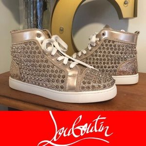 Louboutin Gold High Top Sneakers Sz 9
